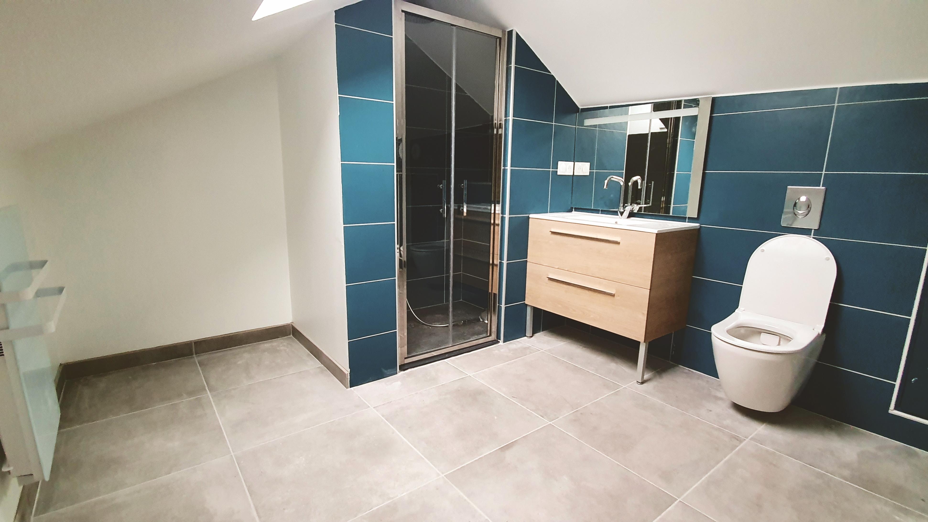 Salle de douche chambre 7 faience bleue